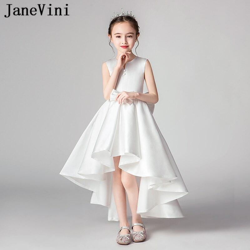 JaneVini 2019 élégantes robes de demoiselle d'honneur blanche avec Cape Satin grand nœud arrière haute basse longueur cheville filles première Communion robes
