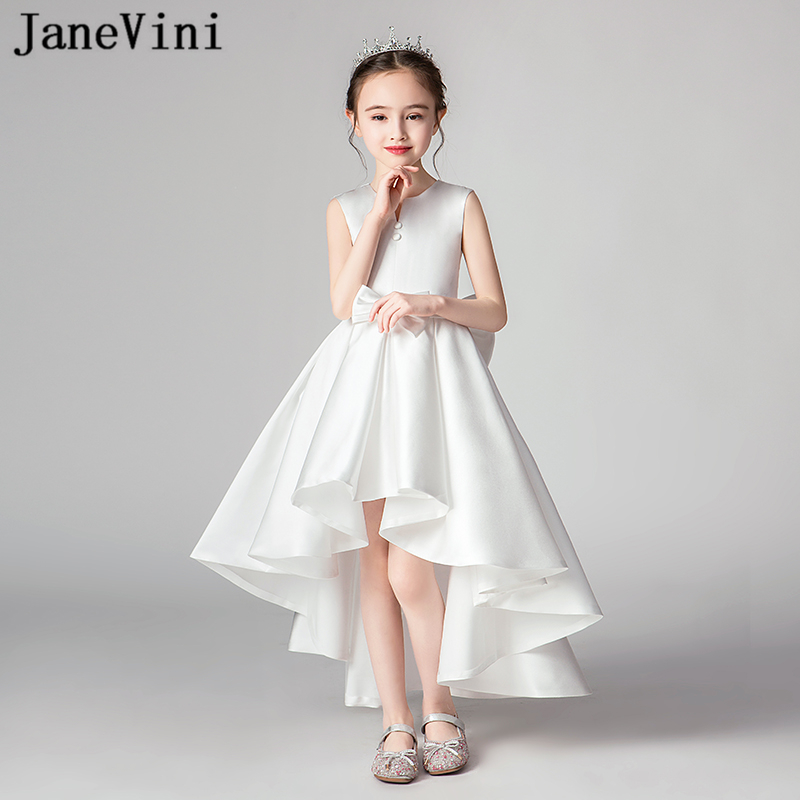 JaneVini 2019 Elegant White   Flower     Girl     Dresses   with Cape Satin Big Bow Back High Low Ankle Length   Girls   First Communion Gowns
