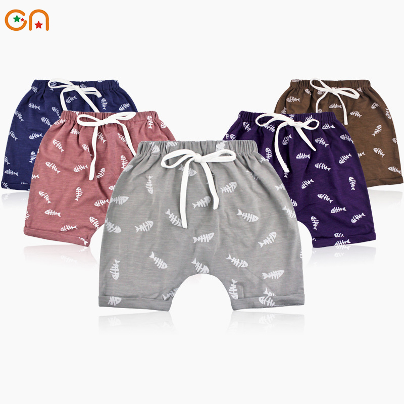 Summer New Kids Baby Cotton   shorts  ,Boy,Girl,Infant fashion printing fish bone   shorts  ,For Children Cute High-quality gifts CN