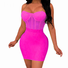 Womens Summer Sexy Chain Spaghetti Strap Mini Short Dress Sleeveless Hollow Out See Through Mesh Bodycon Bandage Party Dresses