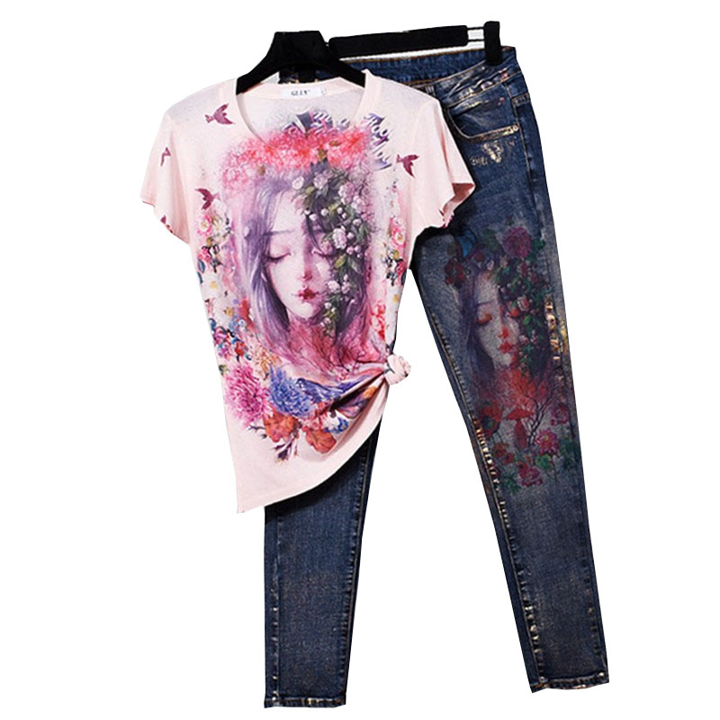 Two piece T shirt Suit Fashion Flowers Printed Women Casual T shirt Pants Lady Clothing Female