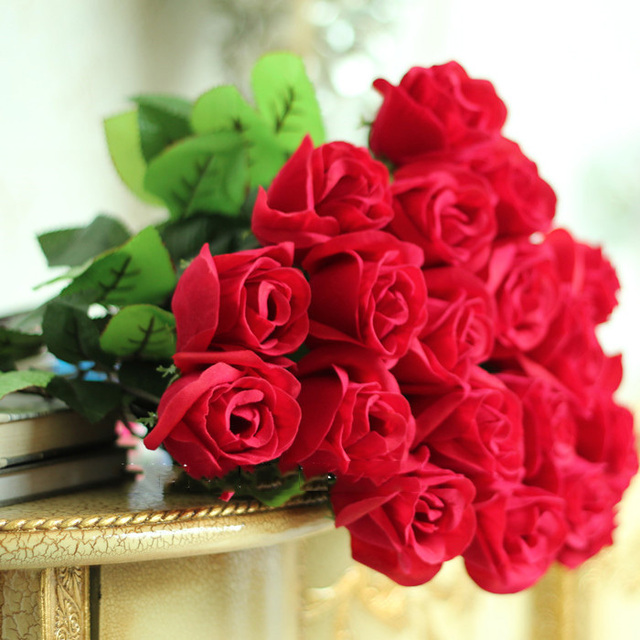 12 pieces Romantic Red Rose Artificial Flower Wedding Decoration ...