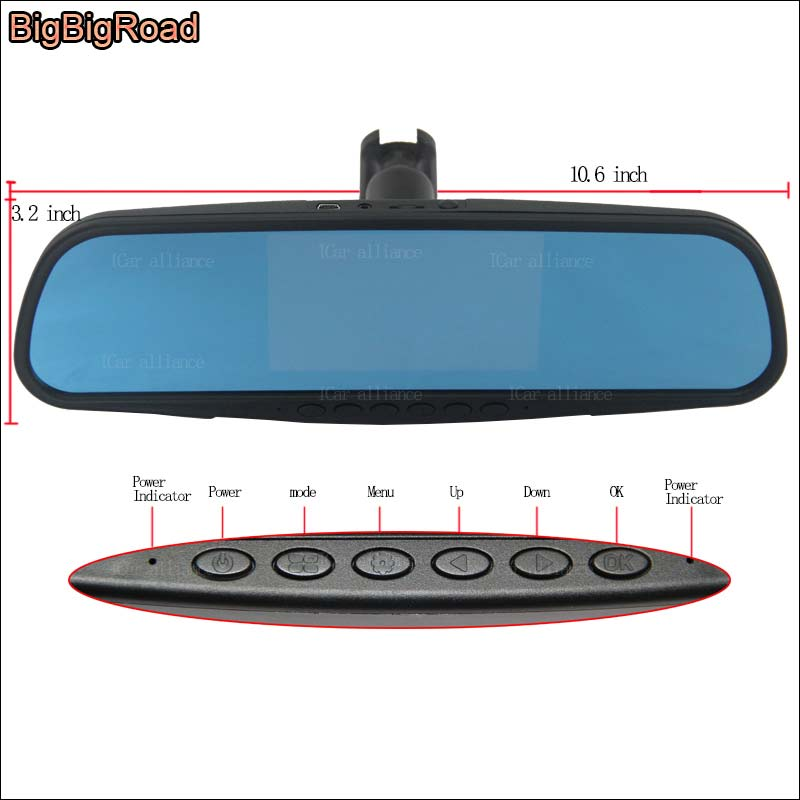 BigBigRoad For toyota camry Yaris L For Lincoln Series Car DVR Blue Screen rearview mirror Camera Video Recorder Dash Cam bigbigroad car dvr dual camera for toyota camry zelas blue screen rearview mirror video recorder monitor car black box camcorder