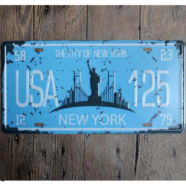 The City Of New York USA 125 Shabby Chic License Plate 15*30 Vintage ...