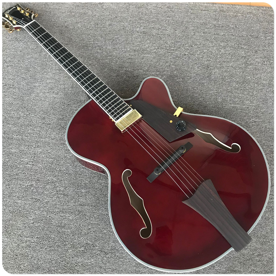 Gisten Red Hollow Body Electric Guitar F Holes With Pickup