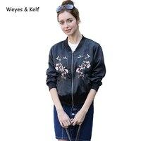 Weye & Kelf Long sleeved Bomber Jacket Women Embroidery 2018 Spring Slim Baseball Bomber Jacket Coat Women Parka Mujer