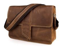 J.M.D Brand 100 % Genuine Cow Leather Unique Special Closure Design Brown Shoulder Bag Cross Body Laptop 7263B