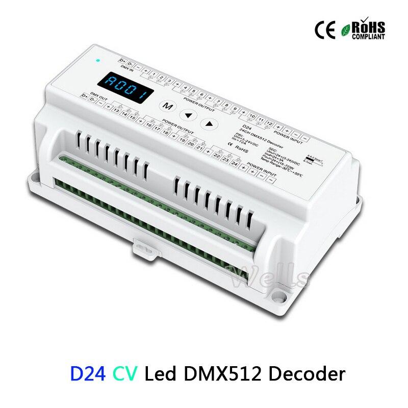 24 Channel CV Led DMX512 Decoder D24;DC5-24V input;3A*24CH PWM output led DMX512 RGB strip Decoder controller led rgb controller ct902 1 5a 9 channel output 9 30v input