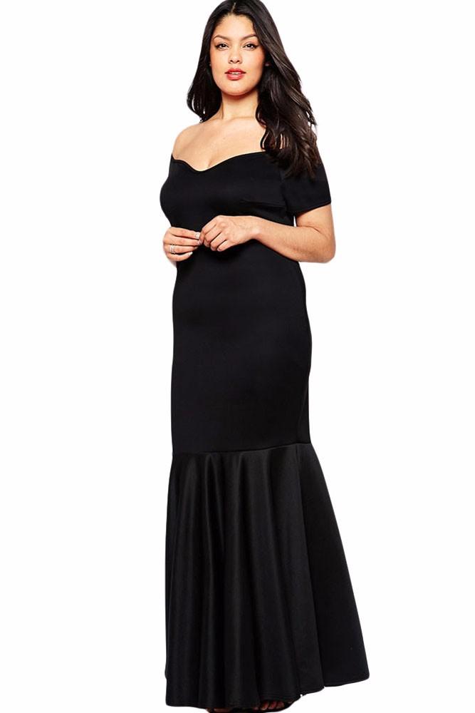 Black-Plus-Size-Off-Shoulder-Fishtail-Maxi-Dress-LC60884-6
