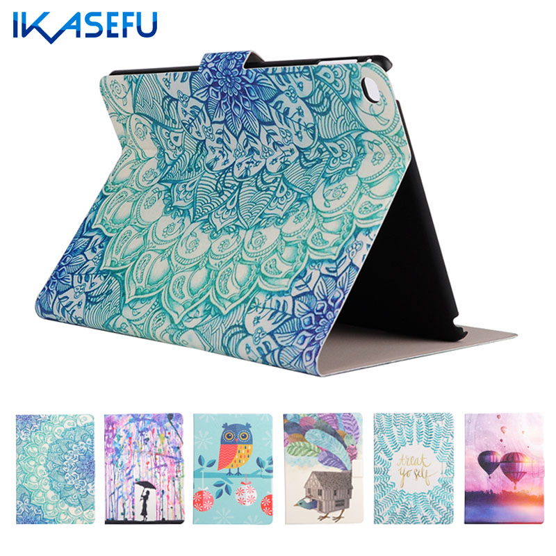 IKASEFU Filp Stand Capa Cover Case for Apple iPad 6 / Air 2 PU Leather Coque Fundas for ipad Air II 2 ipad6 Hard Back I Pad Air2