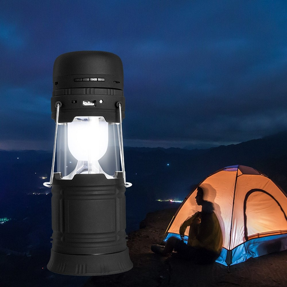 5W Multifunction LED Solar Rechargeable LED Flashlight Power Camping Tent Light Torch Lantern Membrane Bluetooth Speaker|Portable Lanterns|   - title=