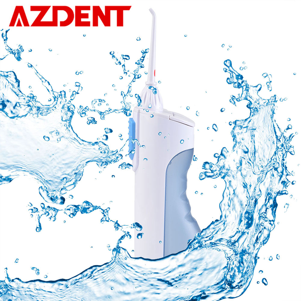 AZDENT 2 Modes Dental Flosser Portable Oral Irrigator Water Jet Pick Floss Mouth Denture Tooth Brush Cleaner Tools 200ml +2 TipsAZDENT 2 Modes Dental Flosser Portable Oral Irrigator Water Jet Pick Floss Mouth Denture Tooth Brush Cleaner Tools 200ml +2 Tips