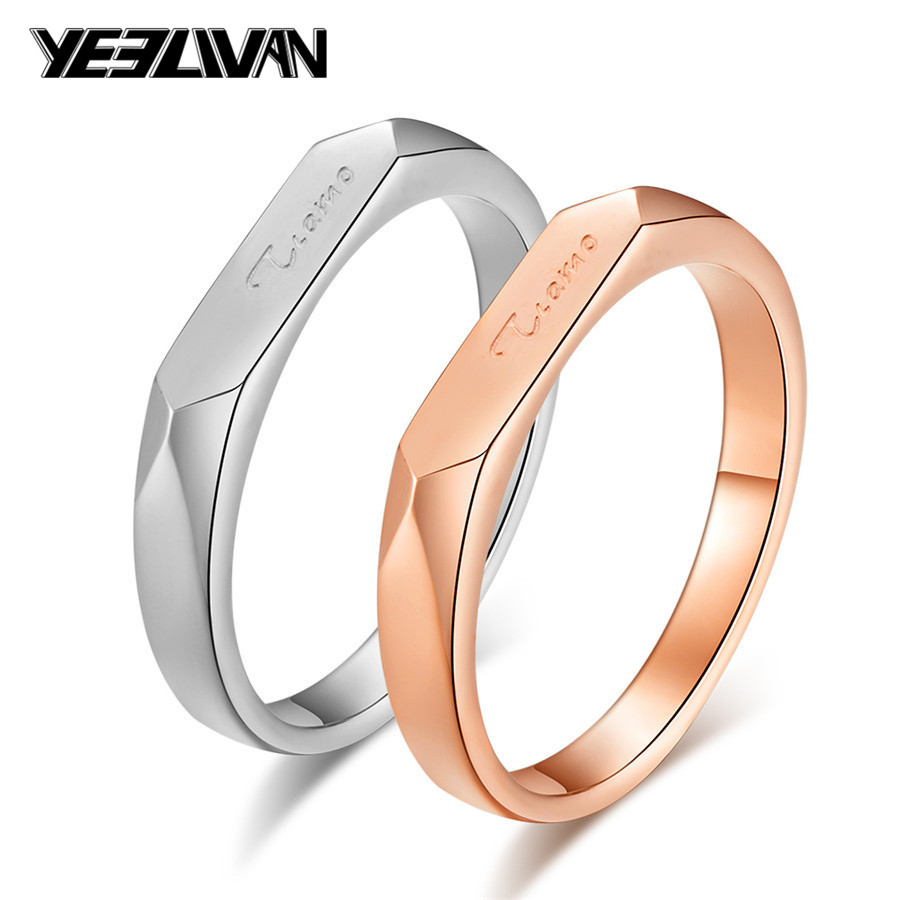 Italy Tiamo Wedding Rings High Quality Titanium Steel Engraved Letter Couple Rings For Men Women Lovers Jewelry Engagement Gift Engagement Rings Aliexpress