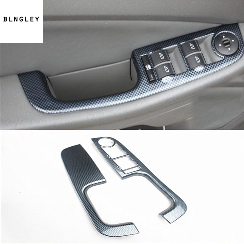 2pcs/lot ABS carbon fiber grain car window lift panel decoration cover for 2007 2011 FORD FOCUS 2 MK2-in Car Stickers from Automobiles & Motorcycles    1