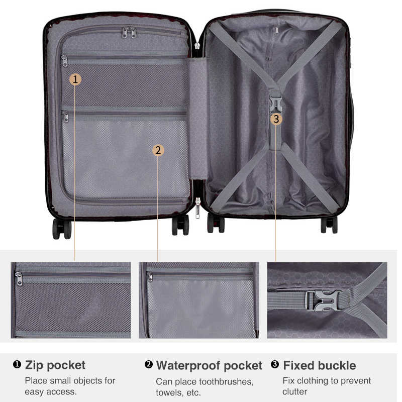 Najlepsze walizka na kółkach walizka na kółkach na komputery PC przypadku torba podróżna toczenia koła do przenoszenia podczas wchodzenia na pokład mężczyźni kobiety bagaż podróż podróż H80002