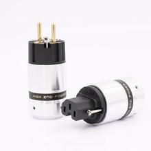 Hallo End Vergoldete Schuko Power stecker IEC Stecker für DIY Netz power kabel