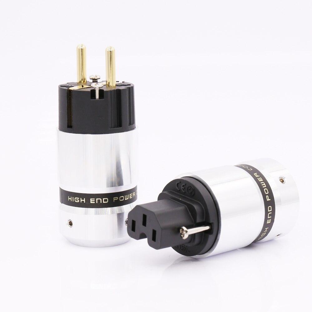 Salut-End Plaqué Or Schuko plug Power Connecteur IEC pour DIY Secteur câble d'alimentation