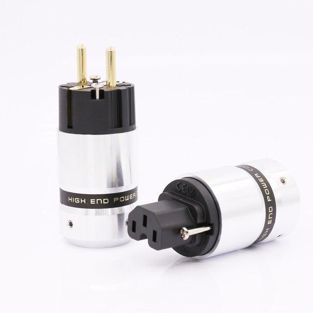 ハイエンドゴールドプレート schuko 電源プラグ、 iec コネクター diy の主電源ケーブル
