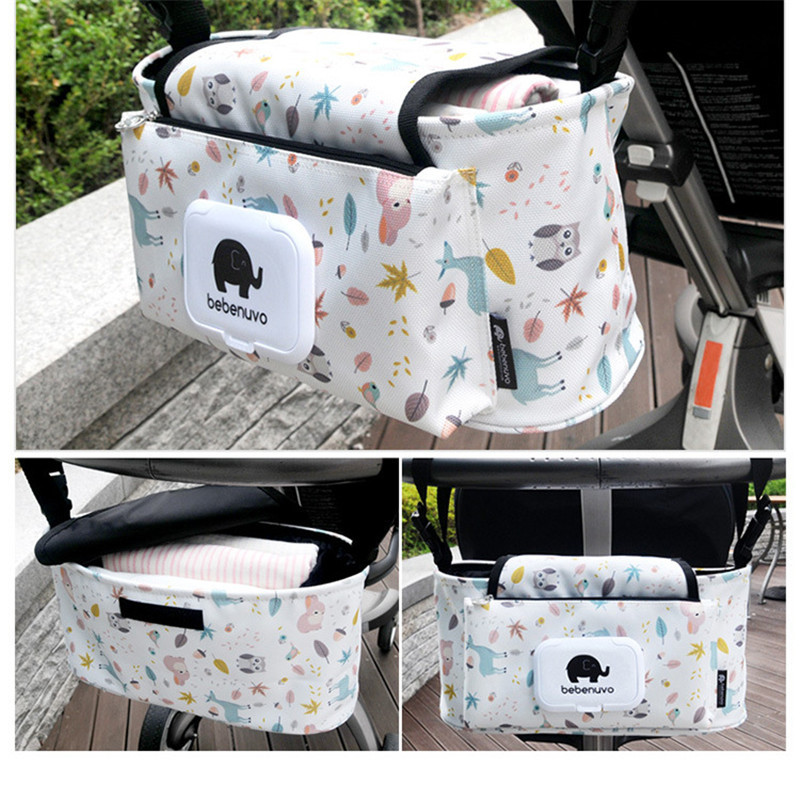 Baby Stroller Bag Nappy Diaper Mummy Bag Carriage Hanging Basket Storage Organizer with Wet Tissue Mouth Feeding Bottle Stroller