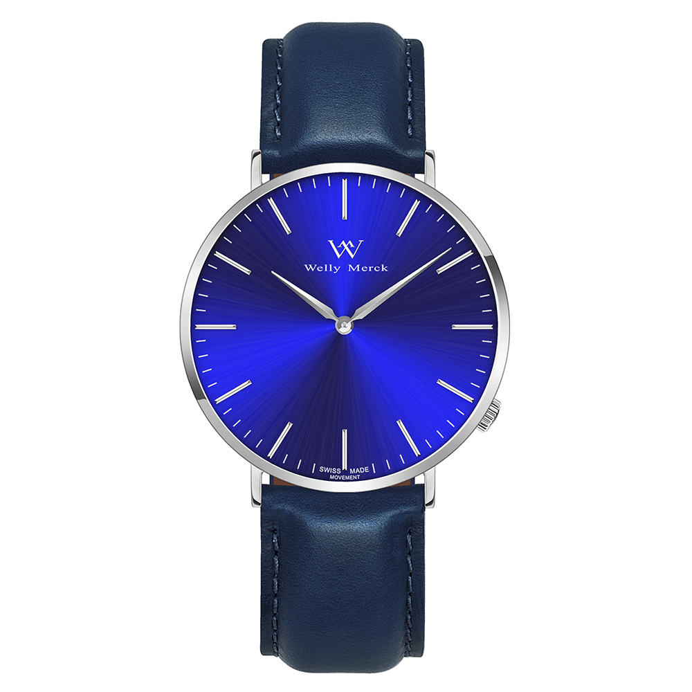 Watches for Men Welly Merck Leather Quartz Watch With Blue Strap