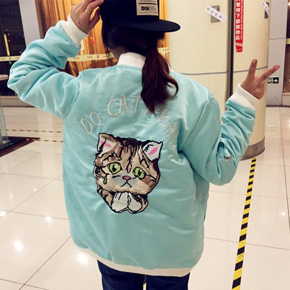 Embroidery Kawaii Cute Paw Animal Character Cat Pattern Lolita Korean  Baseball Satin Bomber Jacket Down Jackets Outfit Coats - Cute Baseball Outfits Promotion-Shop For Promotional Cute Baseball