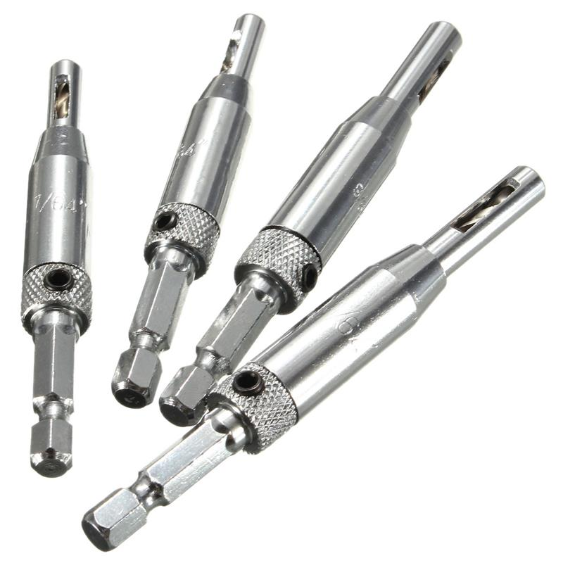 Professional 4 Pcs Self Centering Hinge Drills Bit Set Hss