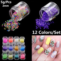Beads 5g Bottle 3D Nail Art Rhinestone 2mm Rhinestone Beads With Hole For Nails DIY Nails