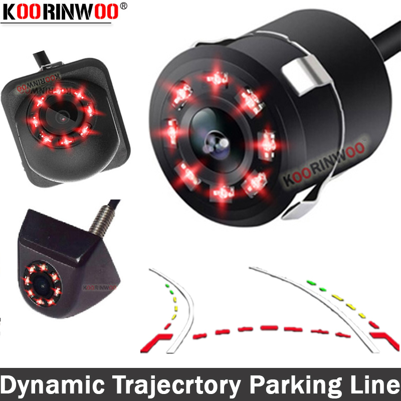Koorinwoo Dynamic Trajectory Car Parking Trunk Camera 8 Lights Moving Parking Line Car Reverse Camera Rear Backup Parking System