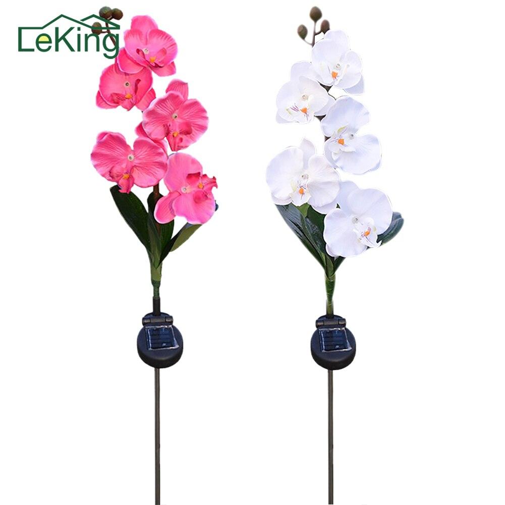 5-Head Solar Schmetterling Orchidee Licht LED Lebensechte Blumen Outdoor Garten Dekorative Lawn Stake Lampe Für Pfad Way Rasen Landschaft