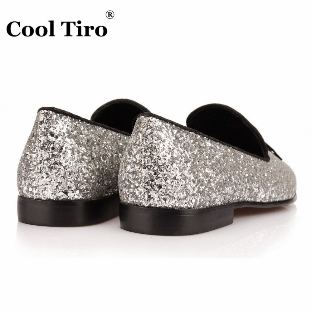 Zilveren Glinsterende Mannen Zwart Tiro Loafers Kwastje Cool Glitter ZAwHqx
