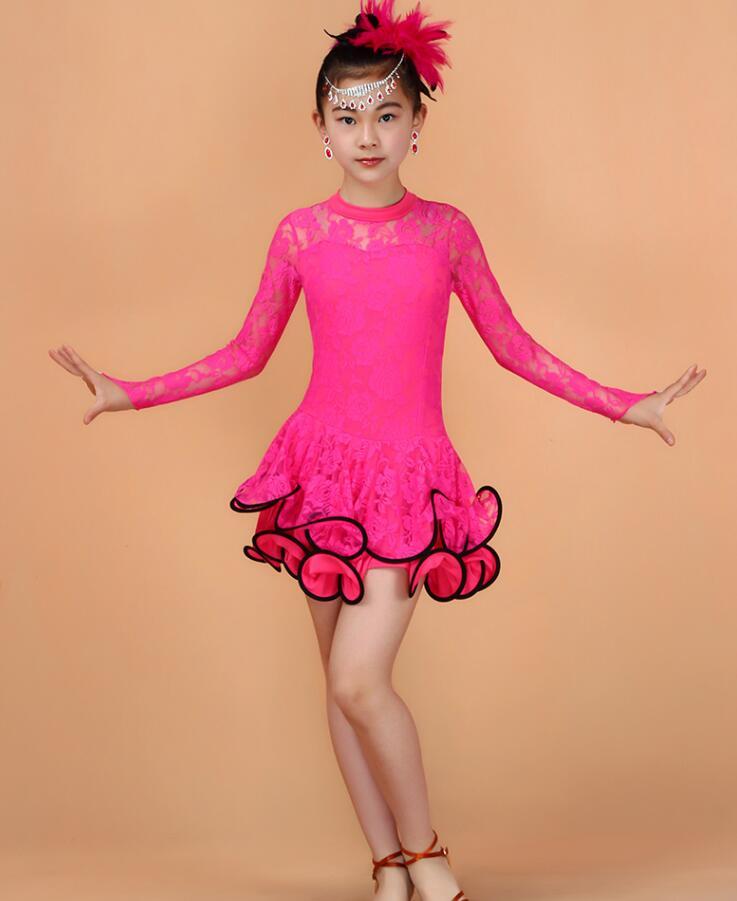 Кружевное платье с длинными рукавами для девочек, одежда для латинских танцев, стандартное детское платье для латинских танцев, детские костюмы для сальсы, бальных танцев - Цвет: Rose Red
