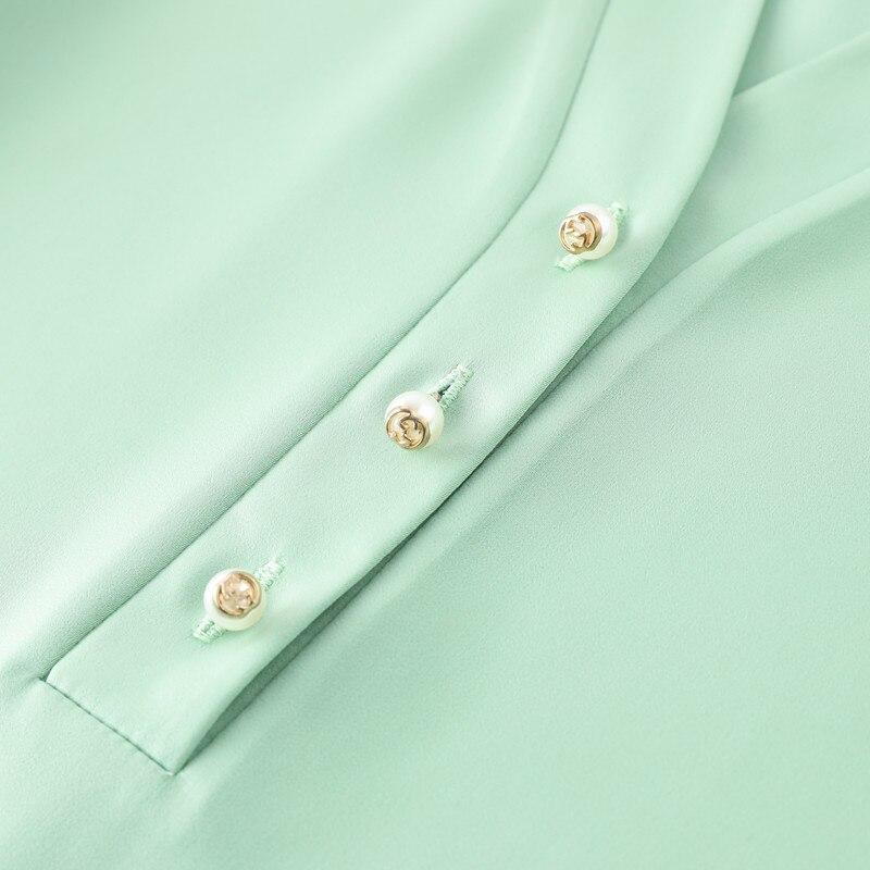 Image 5 - Wysokiej jakości moda damska koszula nowa jesienna v neck z długim rękawem slim business bluzki biurowa, damska jasnozielona bluzki do pracyBluzki i koszuleOdzież damska -