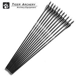 12 pçs 30 polegada de fibra vidro setas caça tiro com arco espinha 500 com pena branca preta para arco composto e recurvo arco seta esporte