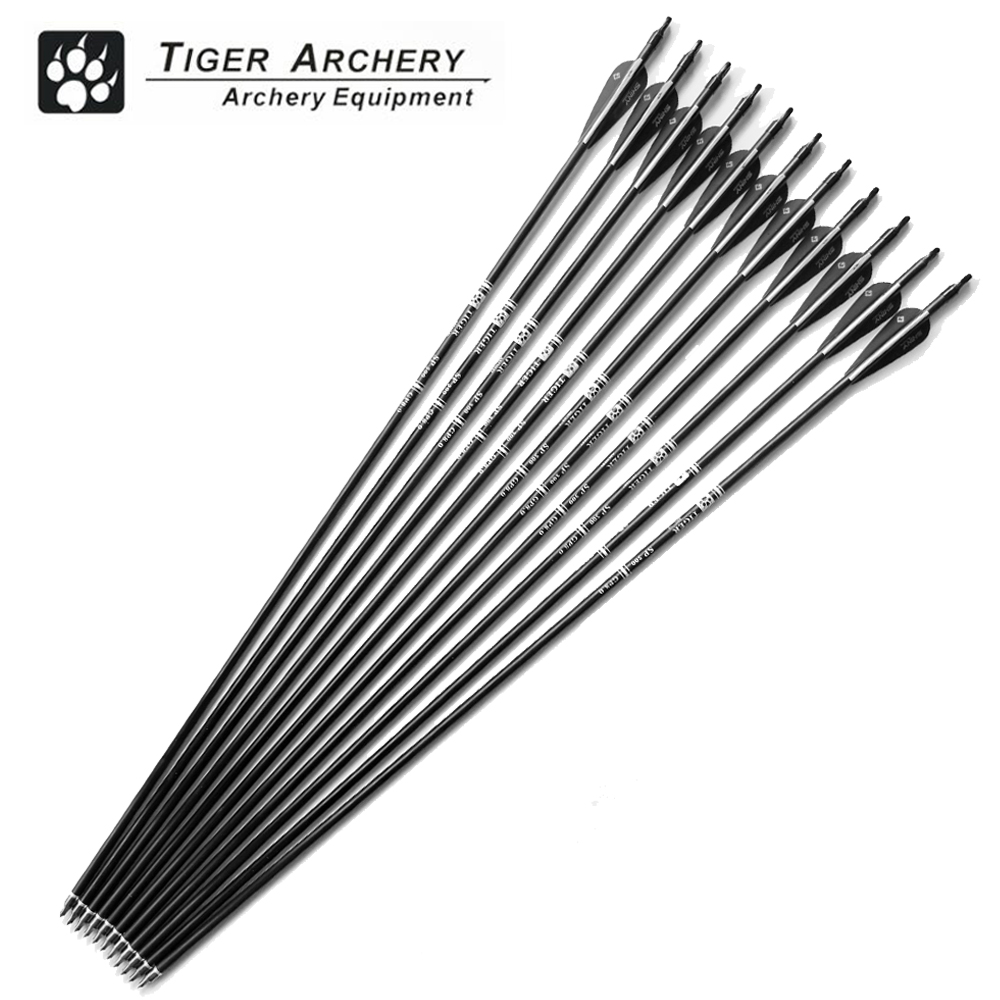 12pcs 30inch Fiberglass Hunting Arrows Archery Spine 500 With Black White Feather For Compound Bow and Recurve Bow Arrow Sport стоимость