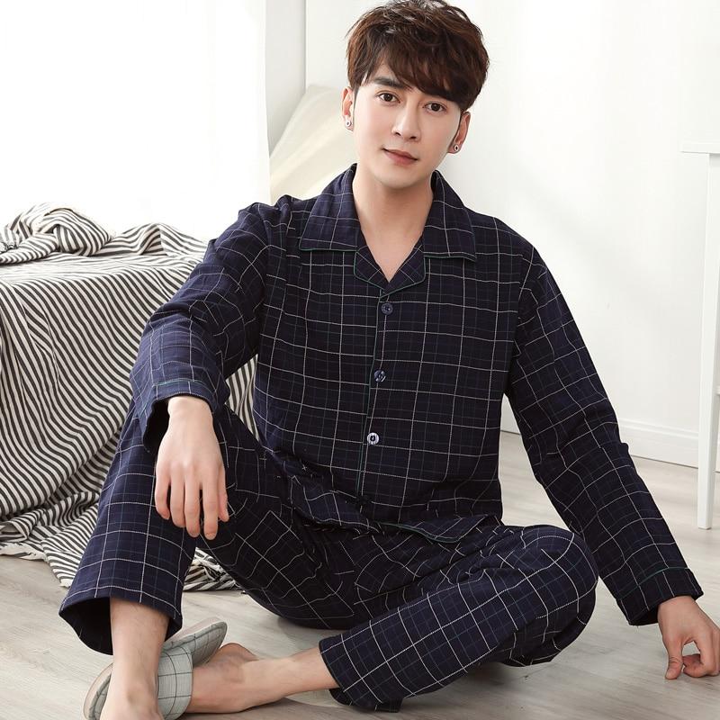 Man Pijama Autumn Plaid Pajama Sets V-Neck Long Sleeve Nightwear For Men Sleepwear Thick Warm Cotton Pajamas Male Homewear M-4XL