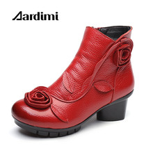 2017 Flowers Winter Women Boots Genuine Leather Casual Shoes Women High Heeled Vintage zip Ankle Boots For Woman Botas Mujer