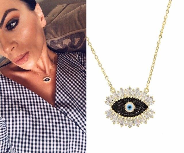 2019 Desain Baru Korea Fashion Membuka Mata Jahat CZ Liontin Shiny Crystal Magic Hitam Bulu Mata Kalung Lucu Gadis Wanita Pesona perhiasan