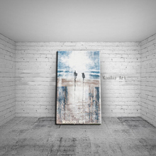 Large landscape canvas oil painting wall art modern seascape blue sky picture on for living room decor