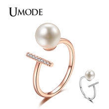 UMODE 2019 ใหม่ Paved Clear Zircon CZ คริสตัล Simple Bar แหวนรอบไข่มุกจำลอง Rose & White Gold (China)