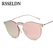RSSELDN Fashion One Piece Lens Sunglasses Women Purple Mirror 2017 Alloy High Quality Ladies Designer Sun glasses For Men UV