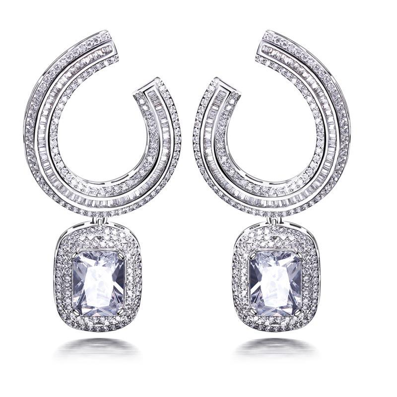 Aliexpress.com : Buy Big Dangle Earrings With Square Crystal White ...