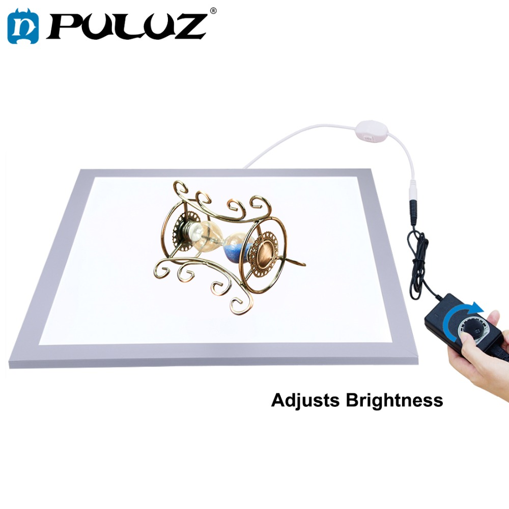 PULUZ 1200LM 15/15in/38x38 Cm LED Photography Shadowless Bottom Light Lamp Panel Dimmable For 40cm Photo Studio Shoot Tent Box