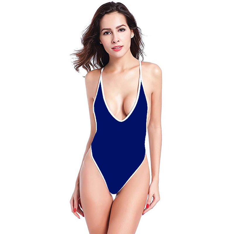 034a52f7a9944 New Deep V Neck Swimsuit Women Backless Bathing Suit Sexy Low Cut Swimwear S -2XL Girl Solid Color Monokini Retro One Piece Suit - aliexpress.com -  imall.com