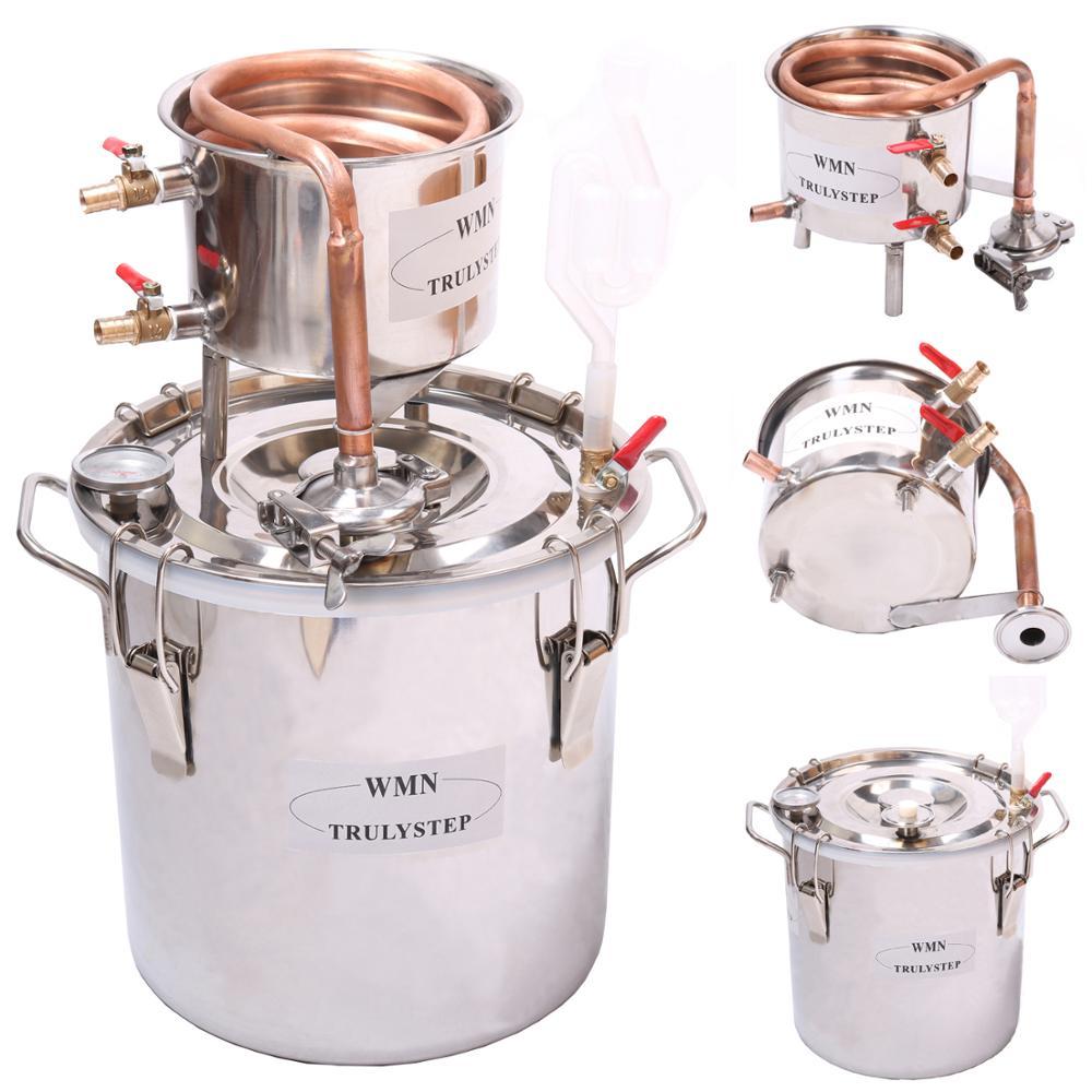 Nova Casa 8 Gal/30 Litros de Uísque Álcool Água Cooper Refrigerador Destilador Espíritos Moonshine Ainda Caldeira Barril Inoxidável Maker