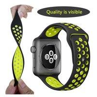 Brand Silicon Sports Band Strap For Apple Watch 38 42mm 1 1 Original Black Volt Black