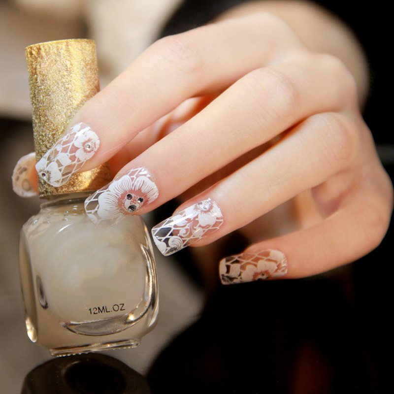 2017 DIY New Nail art decorations Nail Stickers White Lace with ...