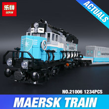 Lepin 21006 New 1234Pcs Genuine Technic Ultimate Series The Maersk Train Set Building Blocks Bricks Educational 10219 DIY Toy