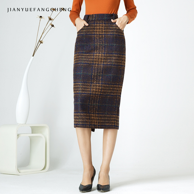 52e60bba1bf Womens Wool Skirt Winter Long Plaid Pencil Skirts Plus Size High Waist Maxi  Skirt Bodycon Female Jupe Mid-Calf Wrap Skirt