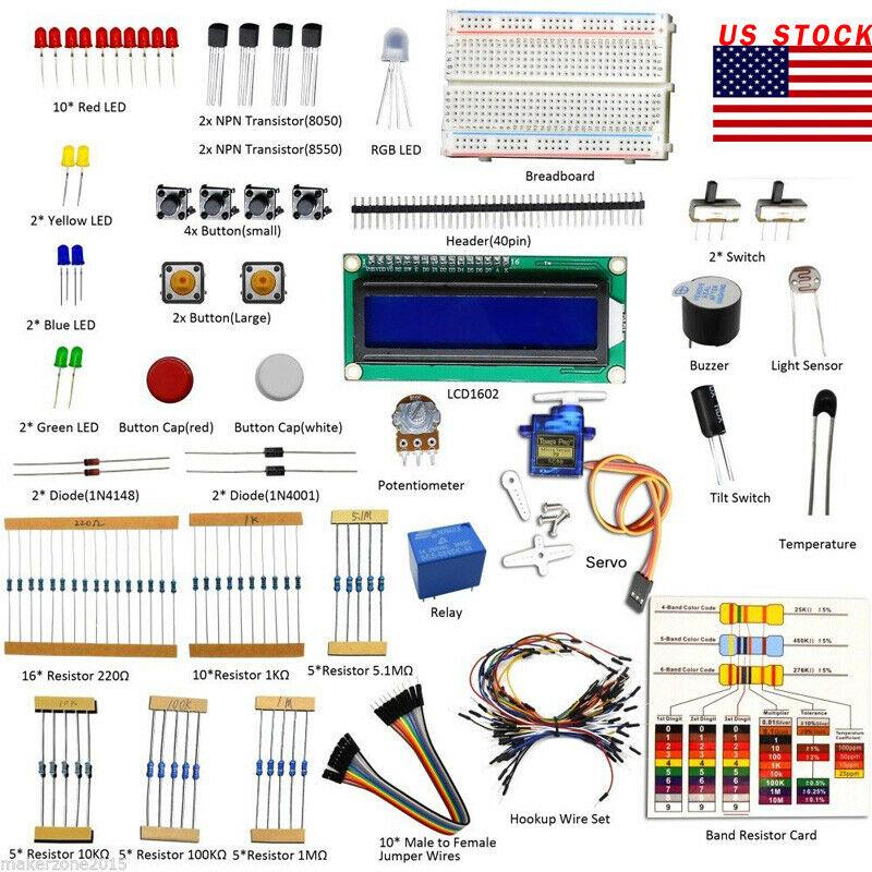 Adeept New Project 1602 LCD Starter Kit For Arduino UNO R3 Mega 2560 Servo USA