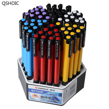 QSHOIC Bule INK Factory direct Sales Wholesale 60 Pcs/Lot Office Promotional Ballpoint Click Ball Pen Multi-Color Plastic